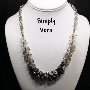 Vera Wang Gray Clear Beaded Silver Tone Necklace